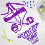 Фото Купальник раздельный, мягкая чашка с вкладышем, плавки слипы - фиолетовый 125-024