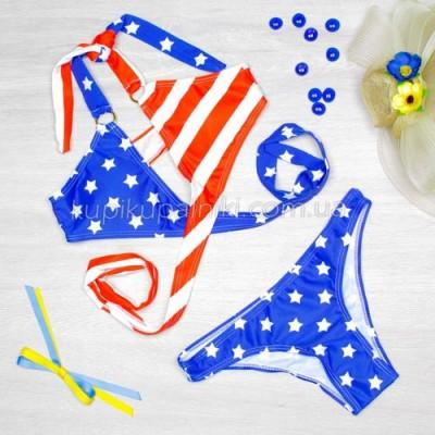 Купальник раздельный, мягкая чашка с вкладышем, плавки слипы - американский флаг 125-022