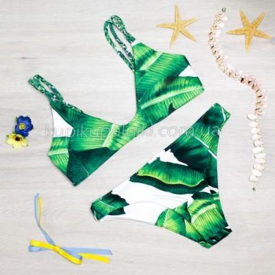 Купальник раздельный, мягкая чашка с вкладышем, плавки слипы банановые листья 126-08