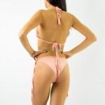 Фото Купальник раздельный, бикини, мягкая чашка с вкладышем, бразилиана, пайетки розовый 132-01