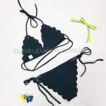 Фото Купальник раздельный бикини, мягкая чашка  с вкладышем, бразилиана, чёрный 129-231