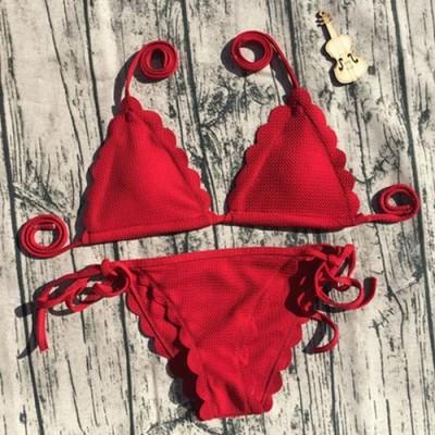 Купальник раздельный бикини, мягкая чашка  с вкладышем, бразилиана, красный  129-232