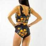Фото Купальник раздельный бикини, мягкая чашка свкладышем, слип чёрный мандарины  130-72