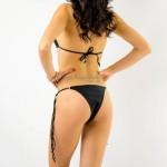 Фото Купальник раздельный бикини мягкая чашка с вкладышем стринги чёрный  130-823