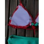 Фото Купальник раздельный бикини мягкая чашка с вкладышем слип Пайетки+рюши красный  130-852
