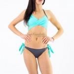 Фото Купальник раздельный бикини уплотненная чашка на косточках с push-up слип бирюзовый   130-861