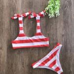 Фото Купальник раздельный бикини мягкая чашка с вкладышем бразилиана  полосатый красно-белый  130-901