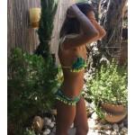 Фото Купальник раздельный бикини мягкая чашка с вкладышем бразилиана зелёный  135-02