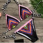 Фото Купальник раздельный бикини мягкая чашка с вкладышем бразилиана яркие треугольники  135-04
