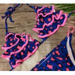 Фото Купальник раздельный бикини мягкая чашка с вкладышем бразилиана электрик с рюшами и розовыми помпончиками  135-07