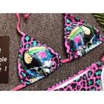 Фото Купальник раздельный бикини мягкая чашка с вкладышем бразилиана розовый леопард туканы 135-12