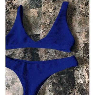 Купальник раздельный бикини мягкая чашка с вкладышем стринги синий  135-14
