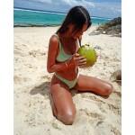 Фото Купальник раздельный бикини мягкая чашка с вкладышем бразилиана  бархат бирюзовый  135-16