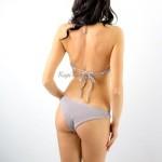 Фото Купальник раздельный бикини мягкая чашка с вкладышем бразилиана жатый серый  135-17