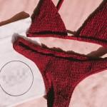 Фото Купальник раздельный бикини мягкая чашка с вкладышем бразилиана жатый  бордо  135-25