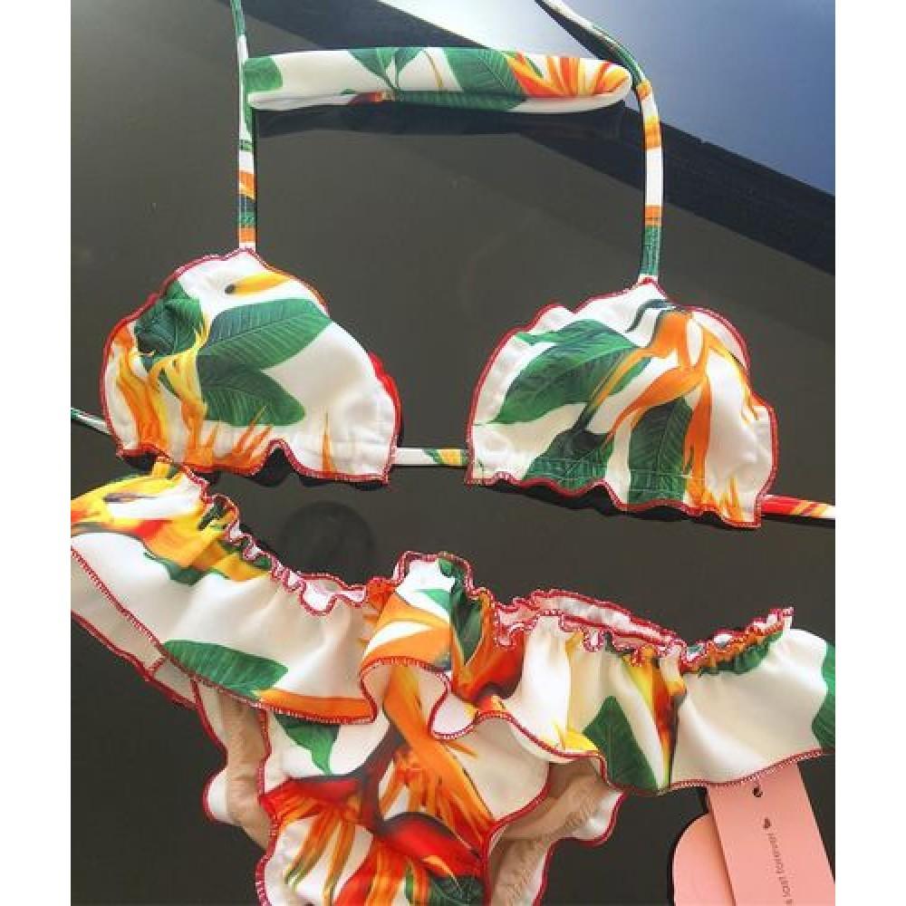 Фото Купальник раздельный бикини мягкая чашка с вкладышем бразилиана  жёлтые цветы и листья  135-28