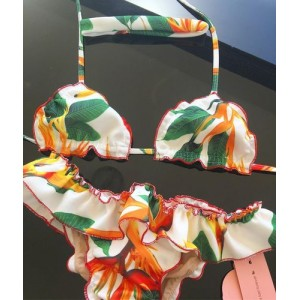 Купальник раздельный бикини мягкая чашка с вкладышем бразилиана  жёлтые цветы и листья  135-28