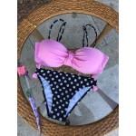 Фото Купальник раздельный бикини уплотнённая чашка с вклыдышем с push-up плавки слип  горох топ розовый 130-1152