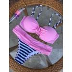 Фото Купальник раздельный бикини уплотнённая чашка на косточках с push-up плавки слип полосатые топ розовый   130-1153