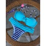 Фото Купальник раздельный бикини уплотнённая чашка на косточках с push-up плавки слип  полосатые топ голубой 130-1154