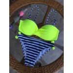 Фото Купальник раздельный бикини уплотнённая чашка на косточках с push-up плавки слип  полосатые топ салатовый 130-1155