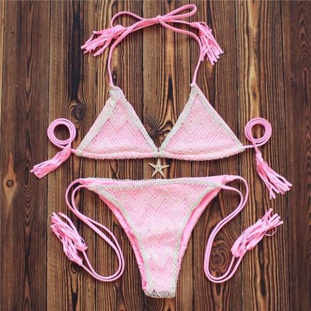 Фото Купальник раздельный бикини мягкая чашка плавки бразилиана светло-розовый 133-053