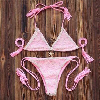 Купальник раздельный бикини мягкая чашка плавки бразилиана светло-розовый 133-053