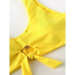 Фото Купальник раздельный мягкая чашка с вкладышем, плавки полосатые бразилиана высокая талия, жёлтый лиф  130-1202