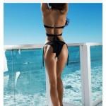 Фото Купальник раздельный бикини, уплотнённая чашка на косточках , плавки бразилиана, чёрный 130-127