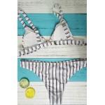 Фото Купальник раздельный бикини мягкая чашка с вкладышем, плавки бразилиана полоска-цветы  136-02