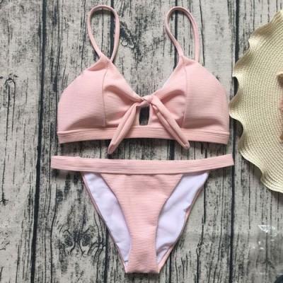 Купальник раздельный бикини мягкая чашка с вкладышем, плавки бразилиана розовый  139-02-2