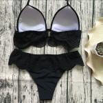 Фото Купальник раздельный бикини мягкая чашка c вкладышем, плавки бразилиана чёрный 139-04-1