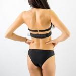 Фото Купальник раздельный бикини уплотнённая чашка на косточках, плавки бразилиана чёрный  139-05