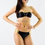 Фото Купальник раздельный бикини уплотненная чашка, плавки бразилиана чёрный с золотом  139-08