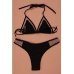 Фото Купальник раздельный бикини мягкая чашка с вкладышем плавки слип чёрный 138-03