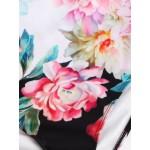 Фото Купальник слитный бандо уплотнённая чашка  плавки слип розово-чёрный  138-11