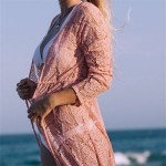 Фото Пляжный халат на длинный рукав розовый гипюр 146-30-1