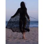 Фото Пляжный халат на длинный рукав чёрный гипюр 146-30-2