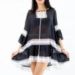 Фото Туника oversize чёрная с белым гипюром 146-34