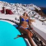Фото Купальник раздельный бикини мягкая чашка с вкладышем плавки бразилиана синий 141-05
