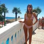 Фото Купальник раздельный бикини мягкая чашка с вкладышем плавки бразилиана зигзаг  141-02