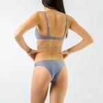 Фото Купальник раздельный бикини мягкая чашка с вкладышем плавки бразилиана серый 143-08-3