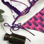 Фото Купальник раздельный бикини мягкая чашка с вкладышем плавки слип фиолетовые ананасы 147-05