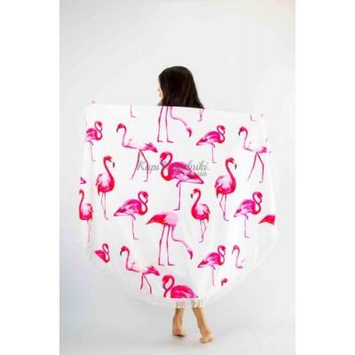 Покрывало пляжное круглое белое с фламинго 151-01