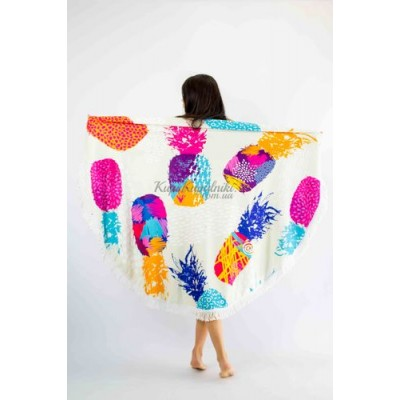 Покрывало пляжное круглое ананасы цветные 151-09