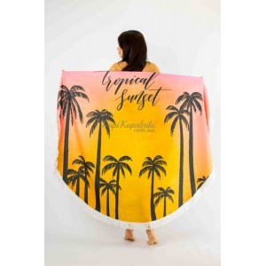 Покрывало пляжное круглое  пальмы закат  151-16