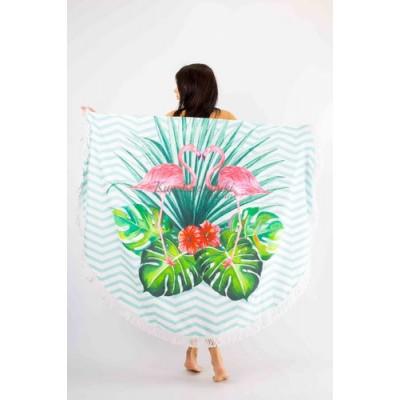 Покрывало пляжное круглое  фламинго и листья на полосатом  151-17
