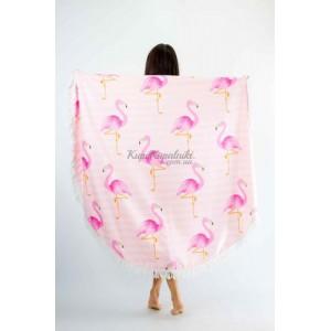 Покрывало пляжное круглое розовое фламинго на полосатом 151-11