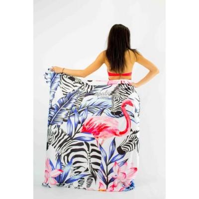 Покрывало пляжное   зебры и фламинго 151-23