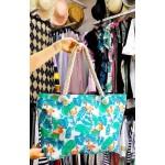 Фото Сумка пляжная на канатах принт тропический с фламинго 210-01